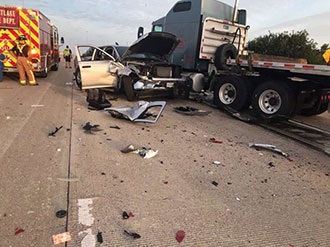 3-year-old and 9-year-old Flown by Life Flight after 18-Wheeler Crash on I-10