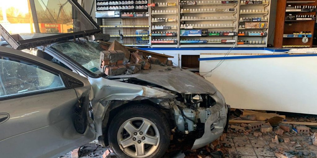 One Person Injured after Wreck Crashes into Gas Station