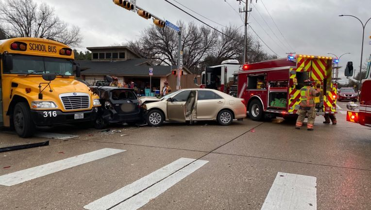 Two Injured after School Bus Crash in Arlington