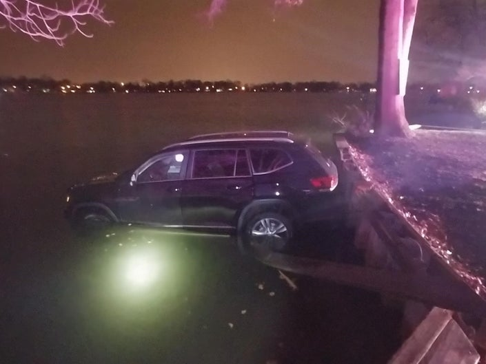 Woman Drove into Lake in Single Vehicle Accident