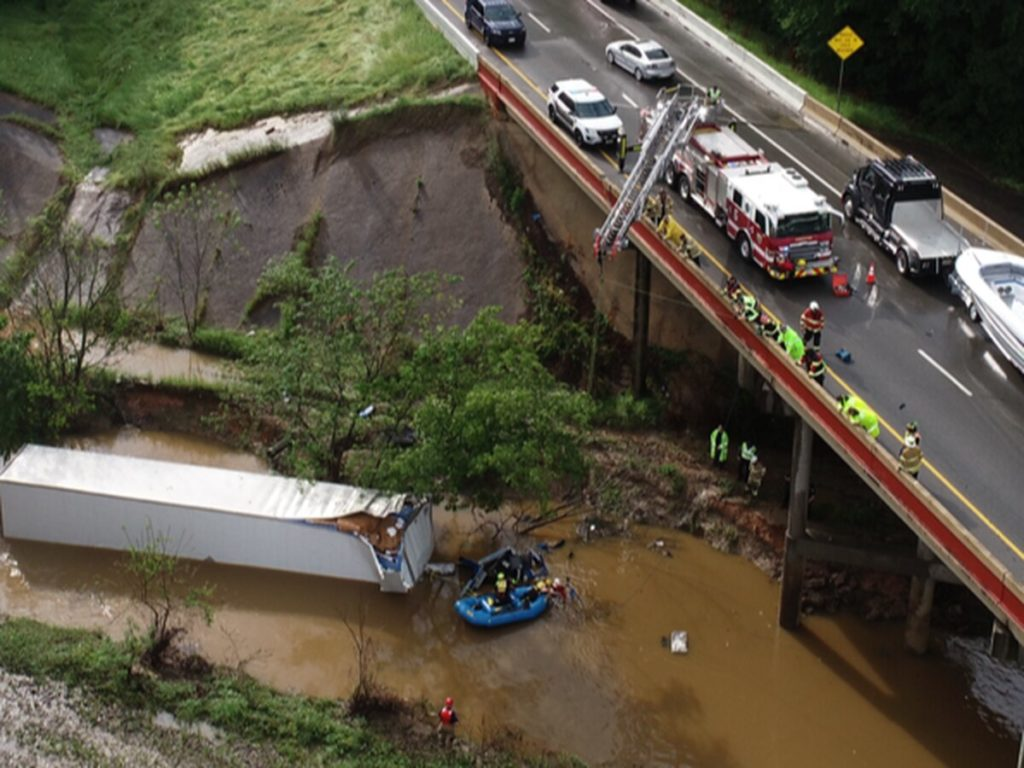 18-Wheeler Submerged in Water after Fatal Collision in Gregg County